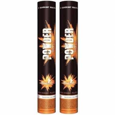 2x poeder kanon oranje uv 40 cm oranje fan support artikelen kopen