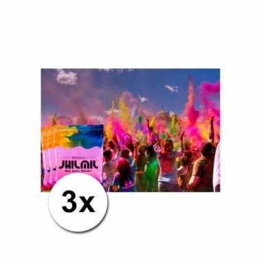 3x roze kleurpoeders 100 gram